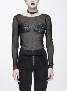 Chest Skull Palm Round Collar Long Sleeve Black Punk Mesh T-Shirt