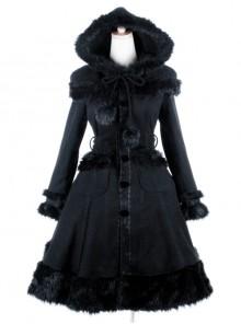 Gothic Female Black Retro Patterned Plaid Hooded Shawl Medium Long Coat