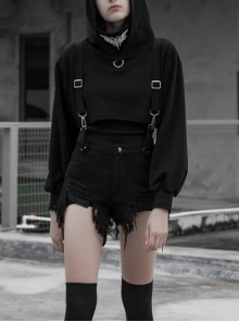 Steam Punk Casual Female Black Detachable Belt Irregular Patterned Shorts
