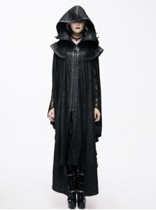 Gothic Oversized Double Shawl Game Style Court Lace Collar Hooded Black Glued Suede Cloak