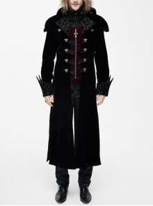 Gothic Triangle Metal Button Wine Velveteen Fake Two Pieces Shawl Collar Black Velveteen Coats