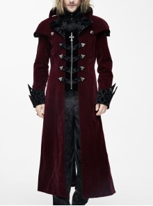 Gothic Triangle Metal Button Black Velveteen Fake Two Pieces Shawl Collar Wine Velveteen Coats