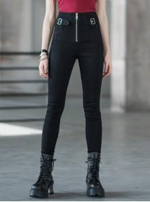 Steam Punk Female High Waist Long Zipper Metal Buckle Denim Pants