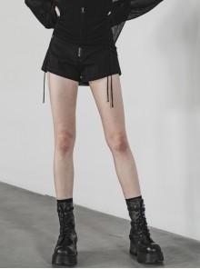 Steam Punk Casual Female High Waist Front Zipper Leather Belt Denim Shorts