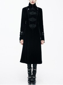 Gothic Center Front Splicing Plum Big Frog Women Black Velveteen Coat