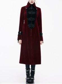 Gothic Black Embossed Patterned Velveteen Center Front Splicing Plum Big Frog Red Velveteen Women Coat