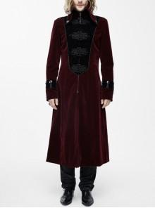 Gothic Black Embossed Patterned Velveteen Center Front Patchwork Plum-Patterned Big Frog Red Velveteen Men Coat