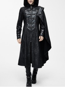 Punk Hooded Removeable One Side Shawl  Gothic Patterned Leather Collar Tree Patterned Glued Suede Men Black Coat