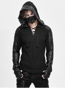 Vertical Stripes Woolen Splice Bright Crimped Fabric Chest Lace-Up Black Punk Hooded T-Shirt