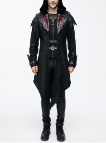 Punk Red Burnt Out Applique Collar Black Glued Suede False Two Pieces Men Removable Hooded Jacket