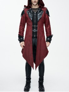 Punk Black Burnt Out Applique Collar Red Glued Suede False Two Pieces Men Removable Hooded Jacket