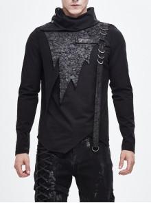 Worn-Out Cross-Shaped Hasp High Collar Asymmetric Hem Black Punk T-Shirt