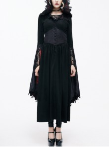 Gothic Lace Big Horn Sleeve Pointed Hat Suede Velveteen Floral Lady Tunic Voluminous Skirt wine red Satin hat black Coats