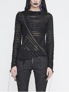 Three-Dimensional Twisted Knitted Inclined Zipper Irregular Hem Black Punk Hooded T-Shirt