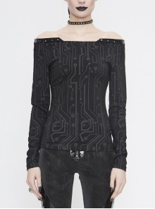 Printed Circuit Board Pattern Off-Shoulder Leather Strip Rivet Black Punk Tight Punk T-Shirt