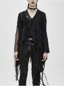 Tattered Style High Waist Long Sleeves Asymmetrical Lace Tassels Hem Black Punk T-Shirt