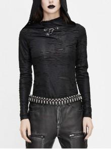 Snakeskin Ripped Pattern Triangle Metal Nail Asymmetrical Hooded Black Punk T-Shirt