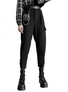 Steam Punk Casual Female Black Elastic Buckle Harem Pants
