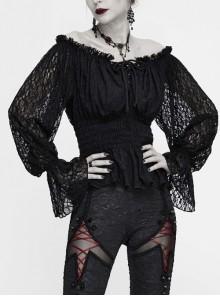 Off-Shoulder Chest Lace-Up Lace Lantern Sleeve Black Gothic T-Shirt