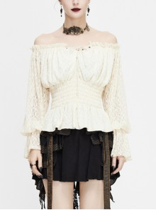 Off-Shoulder Chest Lace-Up Lace Lantern Sleeve White Gothic T-Shirt