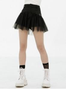 Punk Women Casual Black Mesh Hem Denim Shorts