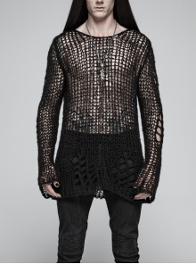 Steam Punk Male Casual Black Ripped Pullover Sweater
