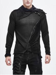 Ragged Turn-Down Collar Woolen Long Sleeve Irregular Hem Black Punk T-Shirt