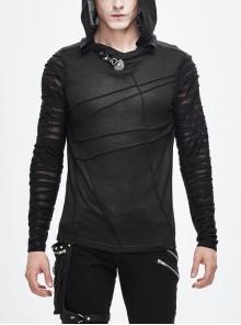 Collar Metal Button Irregular Striped Patchwork Bandage Hooded Black Punk T-Shirt