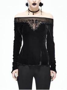 Black Off-Shoulder Mesh Collar Chest Flocking Pattern Long Sleeve Punk Velvet T-Shirt