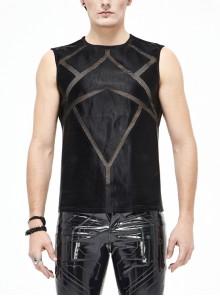 Shiny Knits Splice Armor Modeling Mesh Black Punk Vest