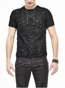 Broken Holes Thick Stripes Chest Lace-Up Black Punk Knit Short Sleeve T-Shirt