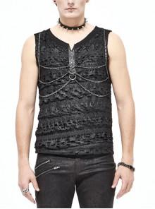 Broken Holes Thick Stripes Chest Chain Black Punk Knit Vest