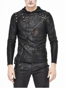 Black Broken Holes Knit Shoulder Lace-Up Irregular Hem Hooded Punk T-Shirt