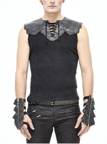 Black Striped Knitting Shoulder White Armor Shape Chest Lace-Up Punk Vest