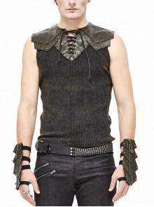 Black Striped Knitting Shoulder Yellow Armor Shape Chest Lace-Up Punk Vest