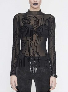 The Printed Flocking Mesh Long Sleeve Rough Selvedge Black Punk Tight T-Shirt