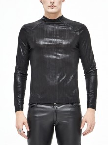 Fine Vertical Lines Slightly Shiny Stretch Fabric Zipper Long Sleeve Black Punk Tight T-Shirt