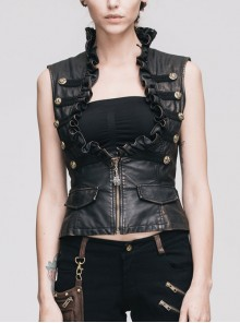 Black And Bronze Hand -Rubbed Leather Big Opening Chest Wave Collar Punk Waistcoat