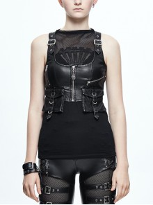 Black And Silver Hand Rubbed Leather Hasp Zipper Short Punk Waistcoat