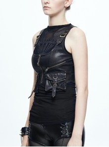 Black And Bronze Hand Rubbed Leather Hasp Zipper Short Punk Waistcoat