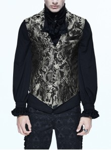 Black And Silver Printed Jacquard Button Gothic Waistcoat