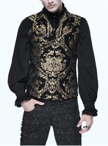 Black And Gold Palace Big Jacquard Pattern Short Gothic Waistcoat