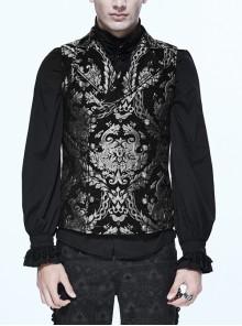 Black And Silver Palace Big Jacquard Pattern Short Gothic Waistcoat