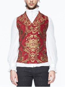 Red And Gold Palace Big Jacquard Pattern Short Gothic Waistcoat
