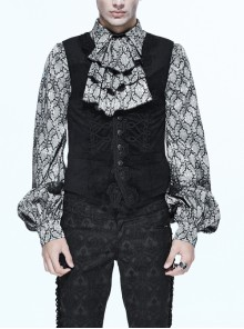 Chinese Frog Button Waist Loop Buckle Black Gothic Waistcoat