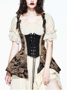 Brown Paisley Print Jacquard Bare Breast Lace-Up Gothic Corset