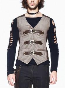 Brown Striped Bronzing Retro Bags Clasp Back Waist Loops Punk Waistcoat