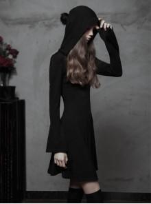 Gothic Witch Black Soft Woolen Hooded Dress