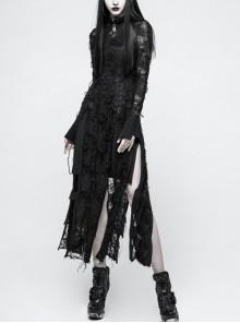 Gothic Female Retro Black Rose Lace-up Mesh Dress