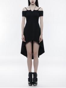 Gothic Female Elegant Black Fishtail Elastic Slip Dress